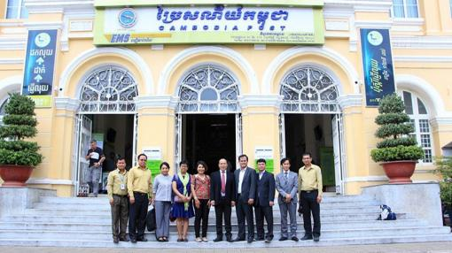Delegation outside Siem Reap Post Office